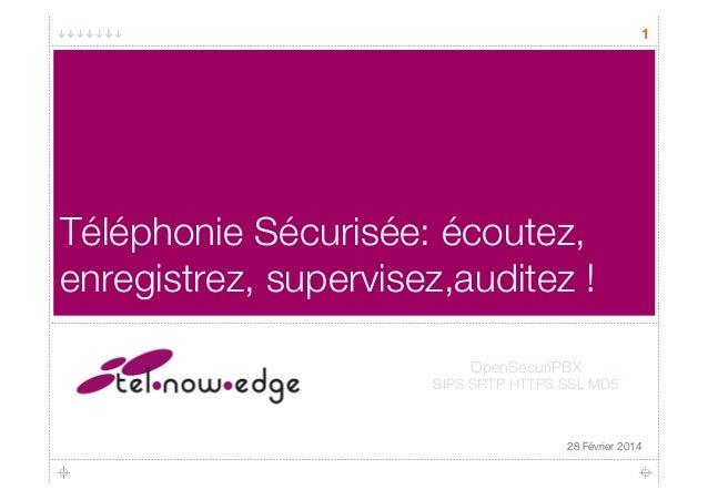 1 Téléphonie Sécurisée: écoutez, enregistrez, supervisez,auditez ! 28 Février 2014 OpenSecuriPBX SIPS SRTP HTTPS SSL MD5