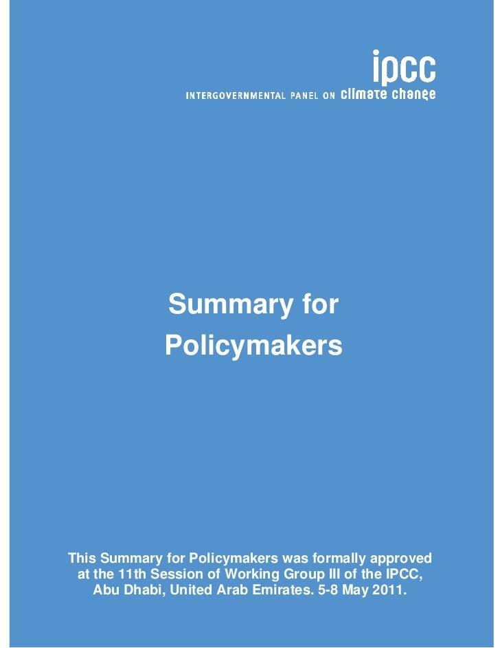 IPCC SRREN - Summary for Policymakers
