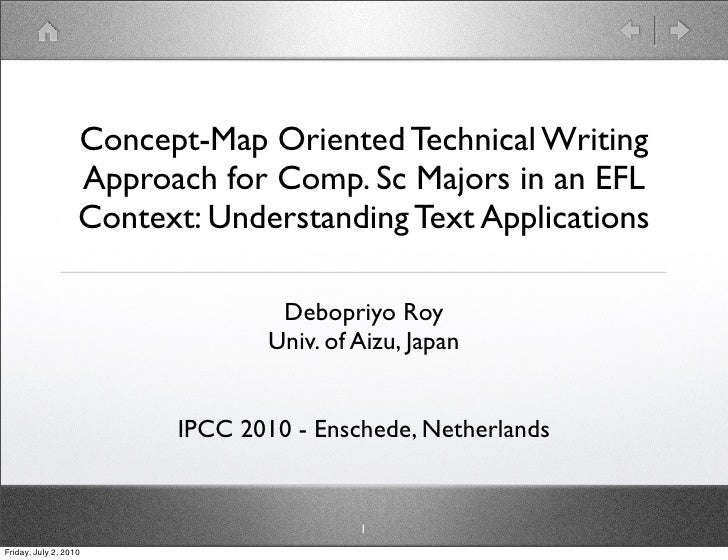 Concept-Map Oriented Technical Writing                    Approach for Comp. Sc Majors in an EFL                    Contex...