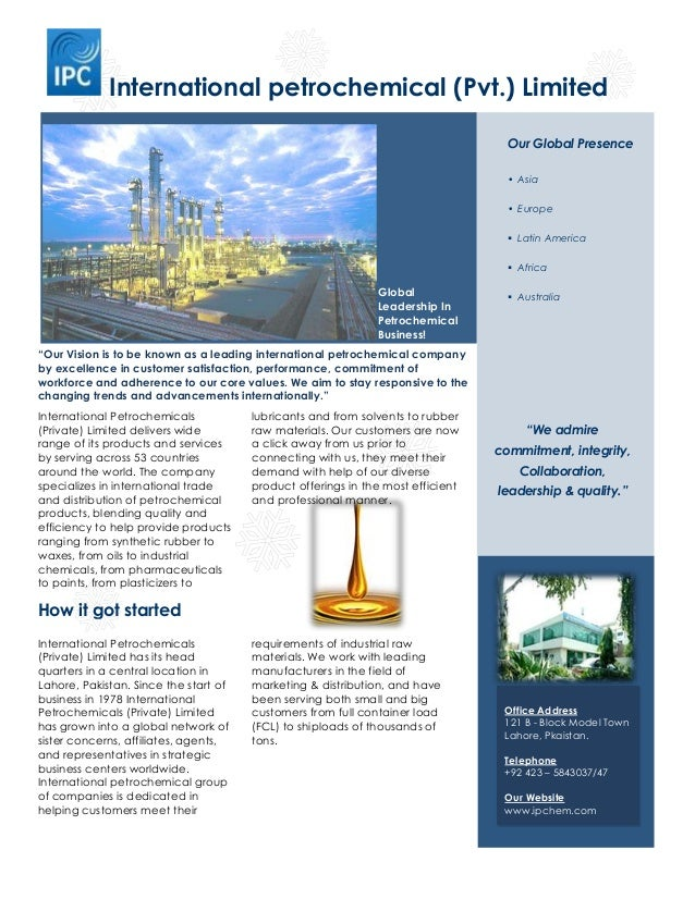International petrochemical (Pvt.) Limited How it got started International Petrochemicals (Private) Limited has its head ...
