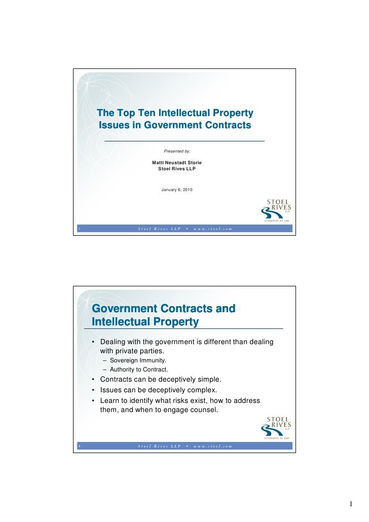 The Top Ten Intellectual Property      Issues in Government Contracts                               Presented by:         ...