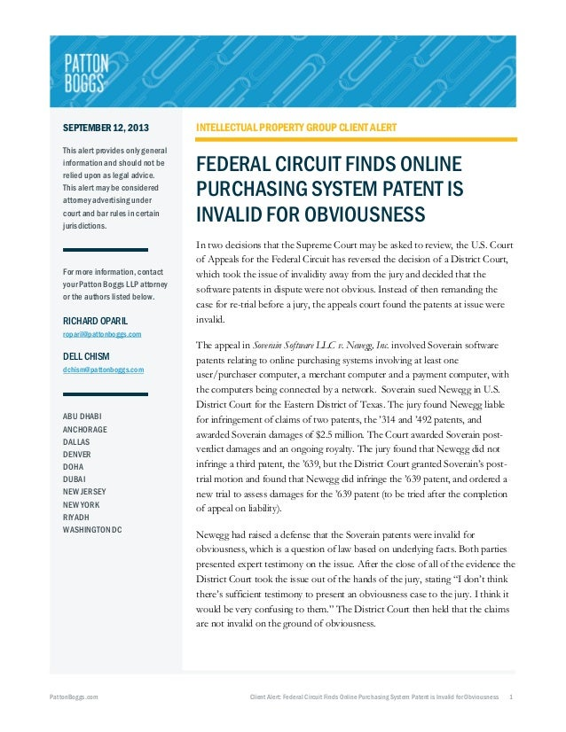 Federal Circuit Finds Online Purchasing System Patent is Invalid for Obviousness