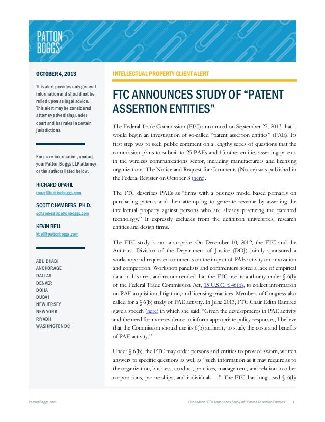 """FTC Announces Study of """"Patent Assertion Entities"""""""