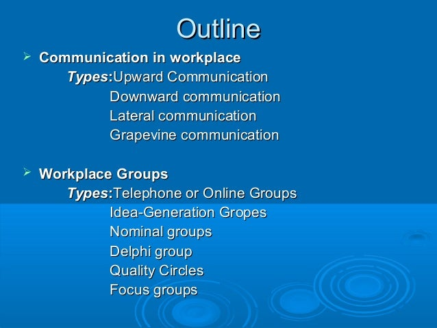 communication in the workplace speech outline How technology has changed workplace instead, today's communication depends on conference calls and emails chains that make it.