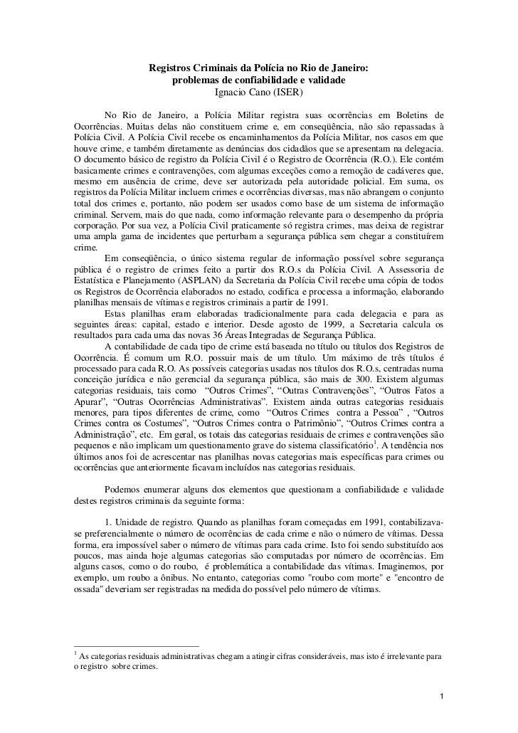 Registros Criminais da Polícia no Rio de Janeiro:                          problemas de confiabilidade e validade         ...