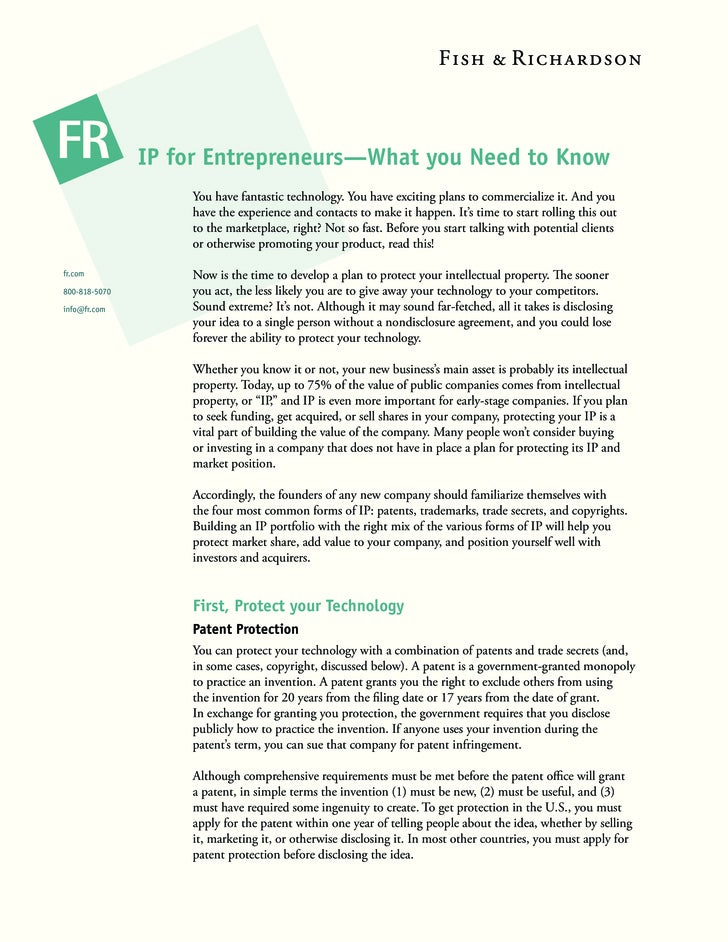 IP for Entrepreneurs—What you Need to Know                    You have fantastic technology. You have exciting plans to co...