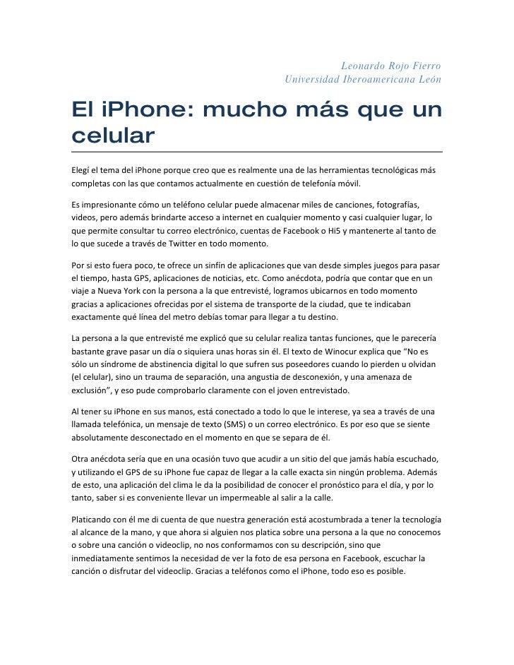 Leonardo Rojo Fierro                                                           Universidad Iberoamericana León   El iPhone...