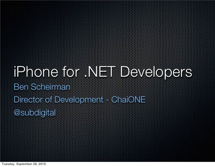 iPhone for .NET Developers