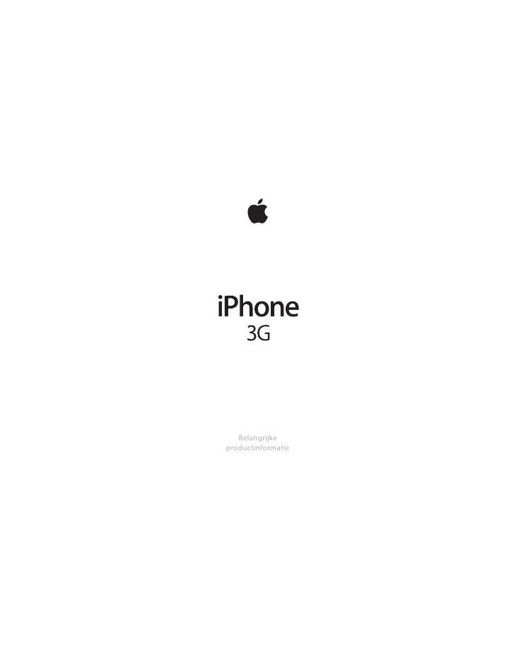 I Phone 3 G Belangrijke Productinformatie N