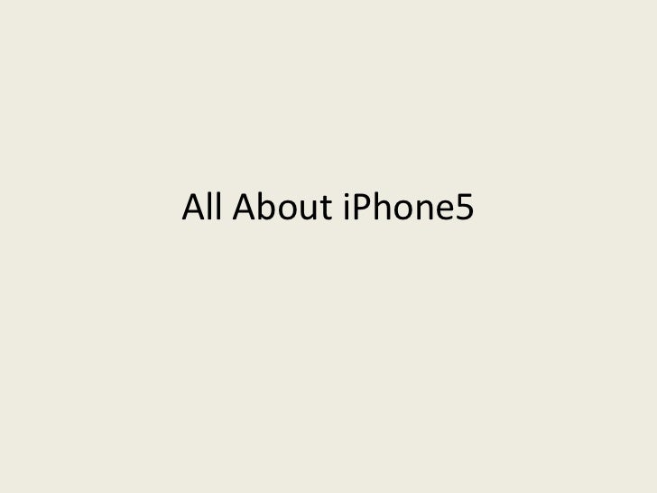 All About iPhone5