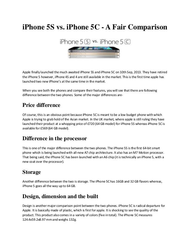 iPhone 5S vs. iPhone 5C - A Fair Comparison