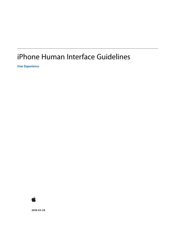 I phone human interface guidlines