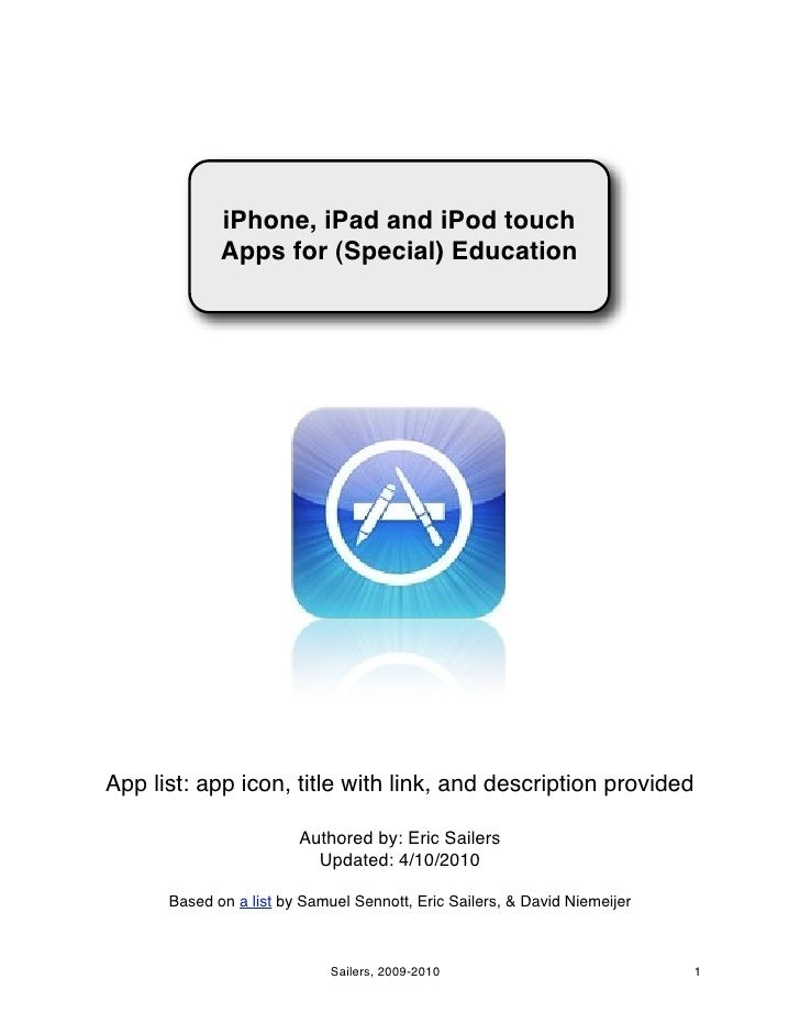 Iphone, ipad, and ipod touch apps for special education
