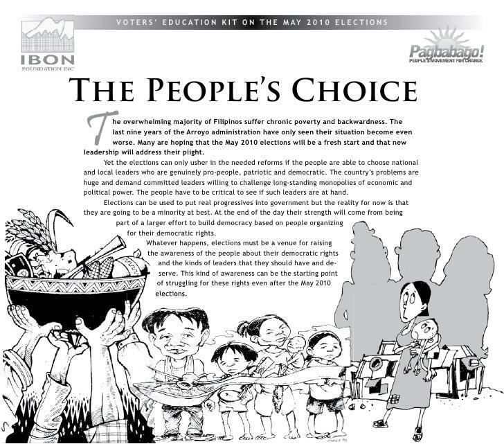 V O T E R S ' E D U C AT I O N K I T O N T H E M AY 2 0 1 0 E L E C T I O N S                  The People's Choice        ...