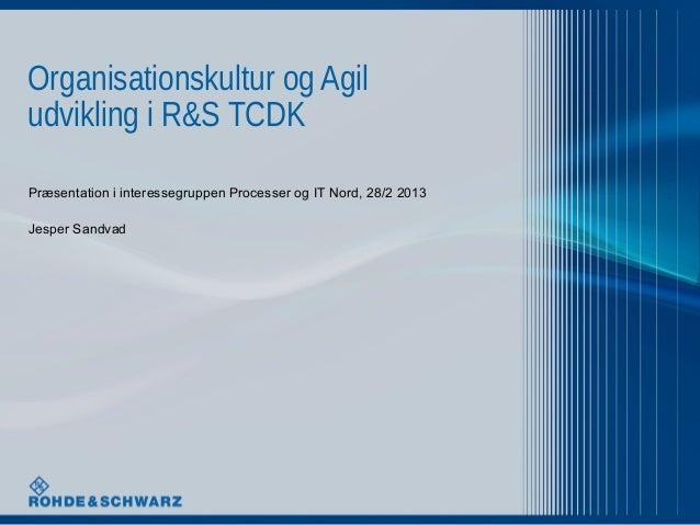 Organisationskultur og Agiludvikling i R&S TCDKPræsentation i interessegruppen Processer og IT Nord, 28/2 2013Jesper Sandvad