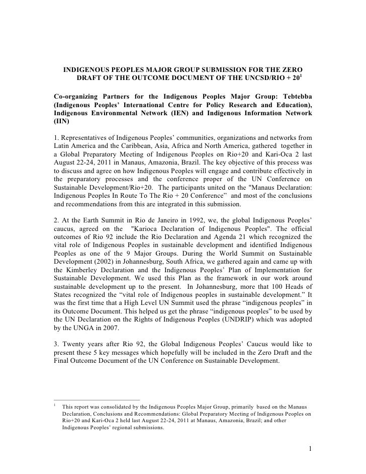 Indigenous Peoples' Submission to Zero Draft of the Rio+20 Outcome Document