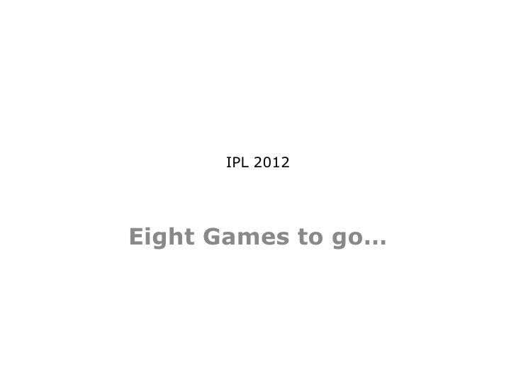 IPL 2012Eight Games to go…