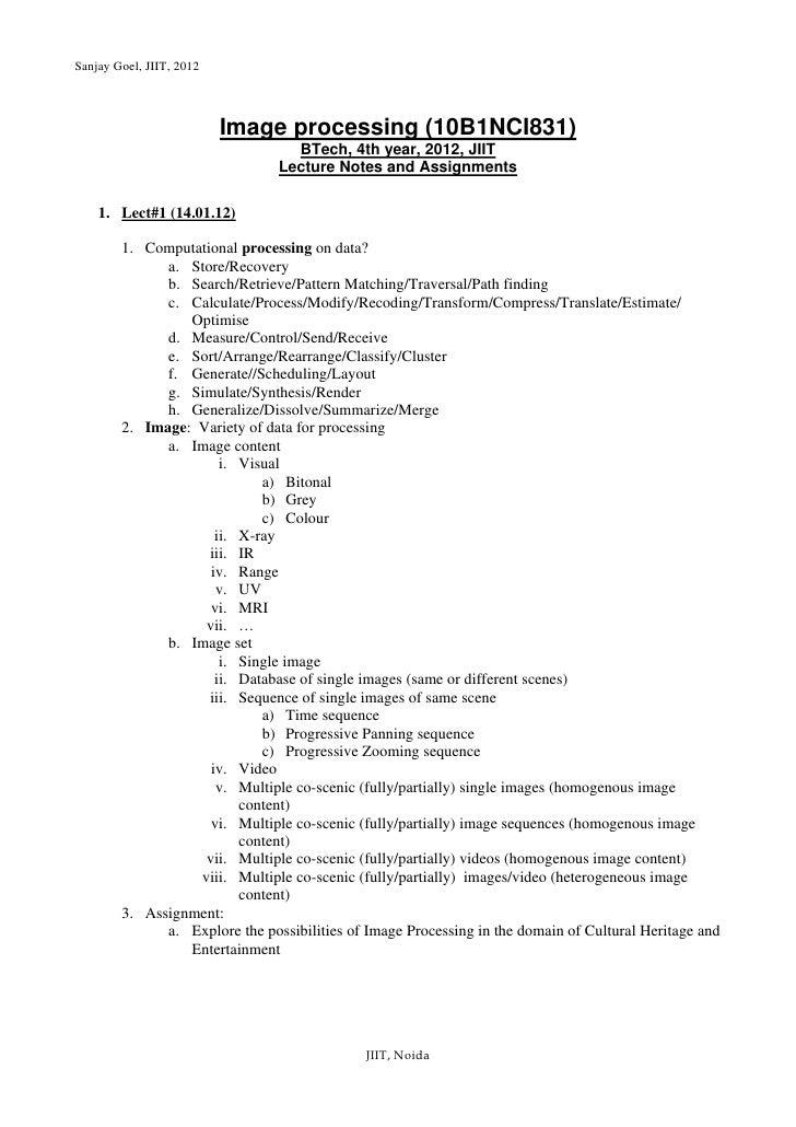Sanjay Goel, JIIT, 2012                          Image processing (10B1NCI831)                                  BTech, 4th...