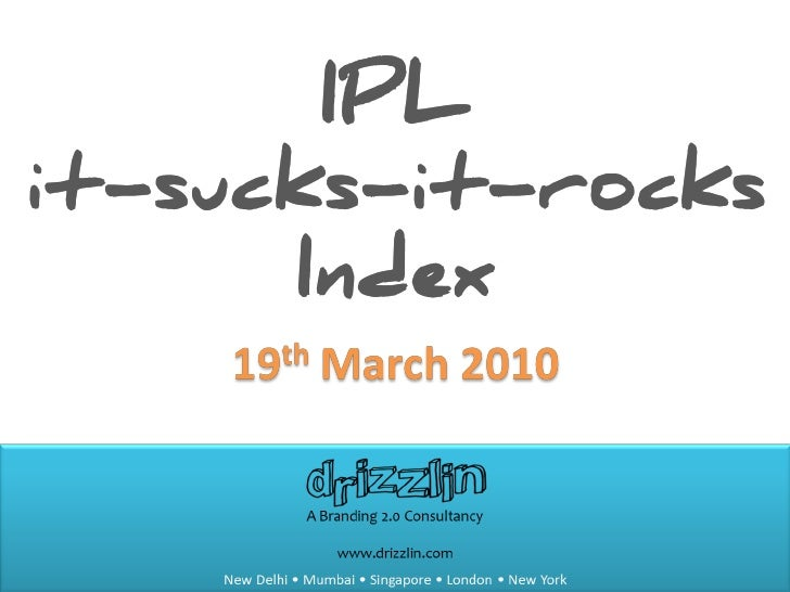 IPL it-sucks-it-rocks Index (19th March)