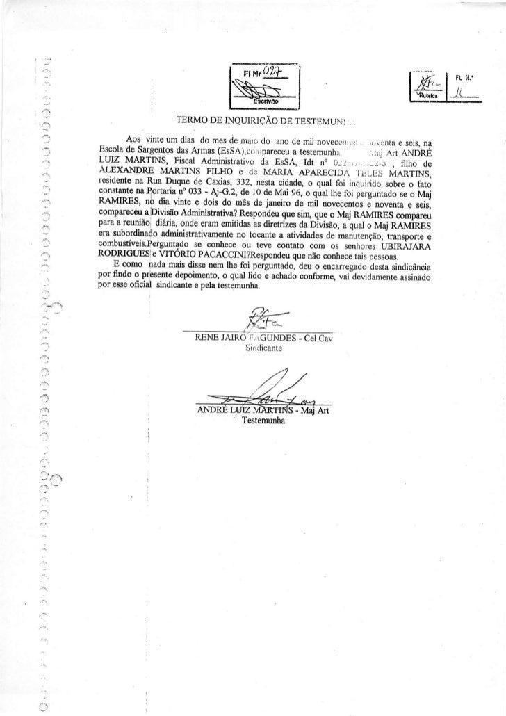 TERMODE INQUIRIÇÃO TESTEMUNÌ:                                                        DE                         Aos vints ...