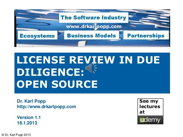 Open source licenses review in due diligence