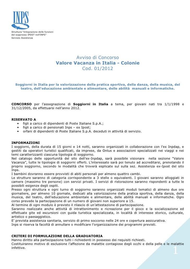 """Struttura """"Integrazione delle funzionidel soppresso IPOST nell'INPS""""Servizio Assistenza                                   ..."""