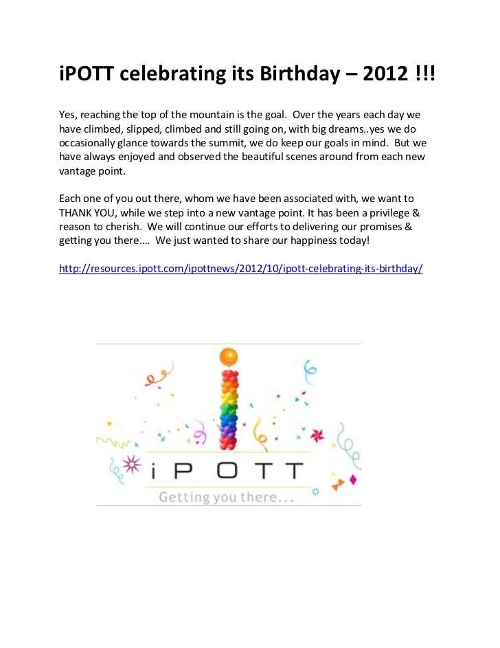 iPOTT celebrating its Birthday - 2012 !!!