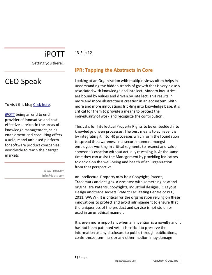 iPOTT ipr tapping the abstracts in core