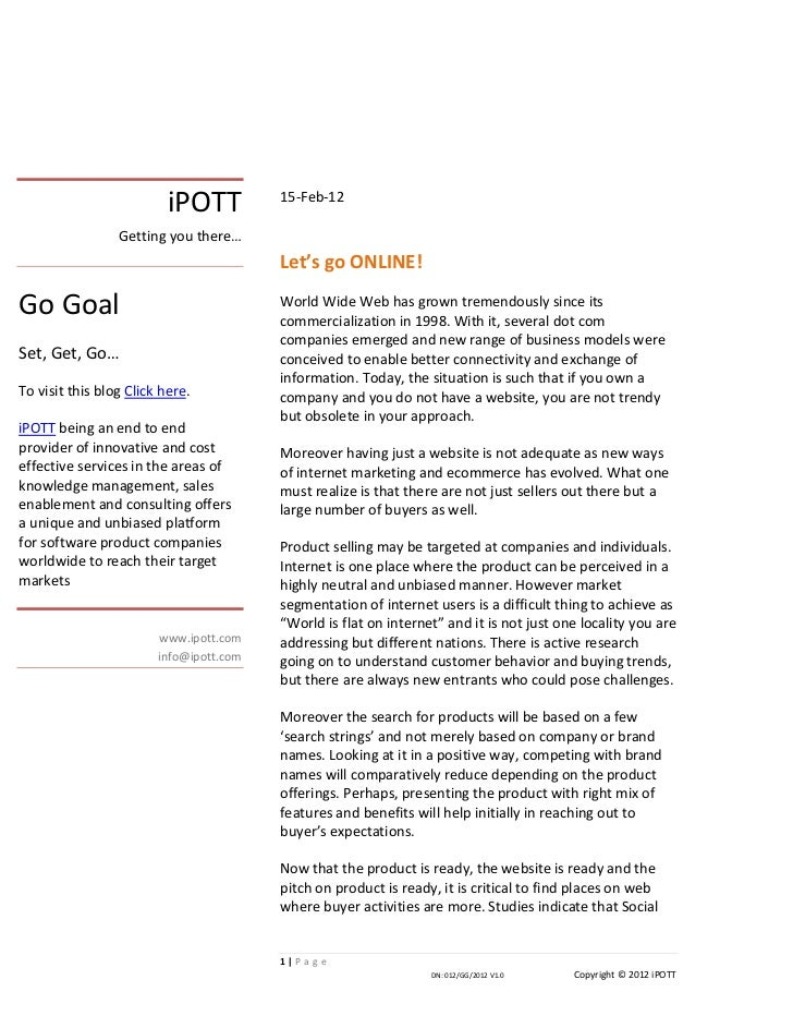 iPOTT lets go online