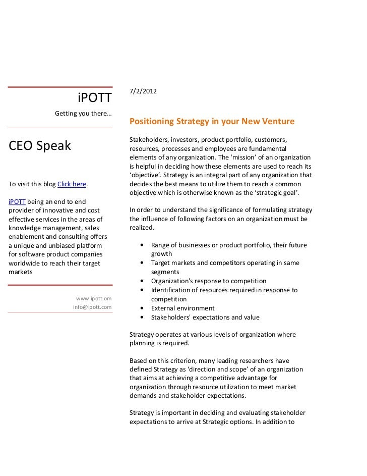 I pott positioning strategy in your new venture