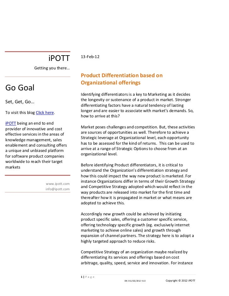 iPOTTproduct differentiation based on organizational offerings