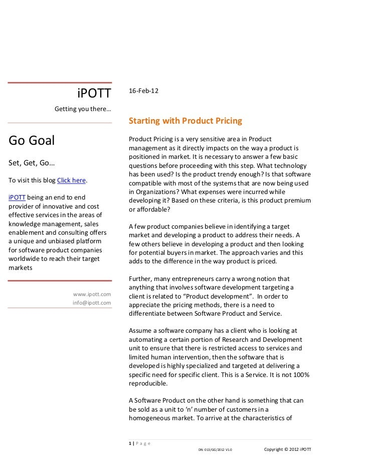 iPOTT starting with product pricing