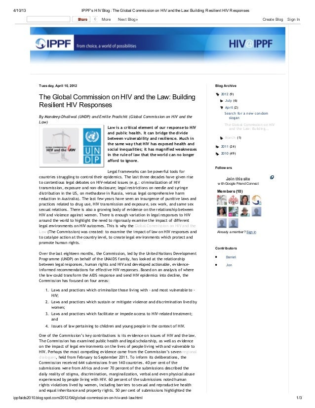 The Global Commission on HIV and the Law: Building Resilient HIV Responses - March 2012