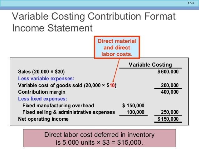 Income Statement Contribution Format