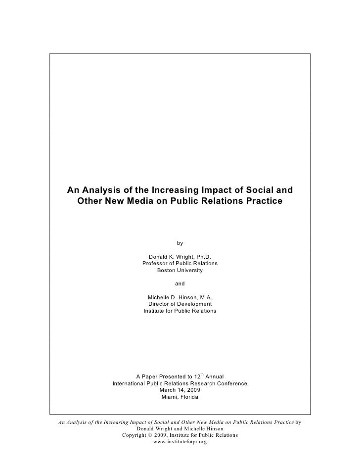 An Analysis of the Increasing Impact of Social and      Other New Media on Public Relations Practice                      ...