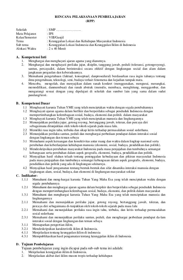 Rpp Smp Kelas 7 Ips Terpadu Kunci Dan Perangkat Ips Terpadu Smp Kelas 9 Rpp Ips Kelas Viii