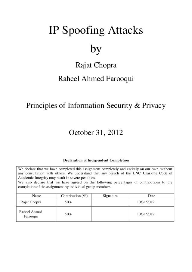 IP Spoofing Attacks                                            by                                  Rajat Chopra           ...