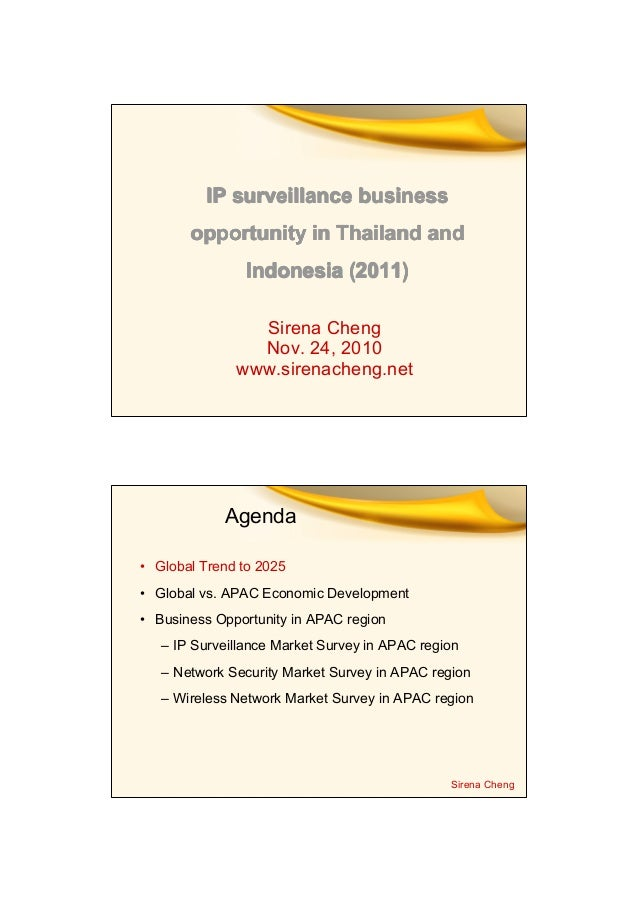 Ip surveillance market survey in thailand and indonesia 2011 by sirena cheng1