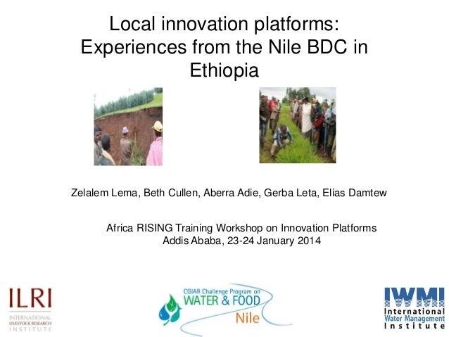 Local innovation platforms: Experiences from the Nile BDC in Ethiopia  Zelalem Lema, Beth Cullen, Aberra Adie, Gerba Leta,...