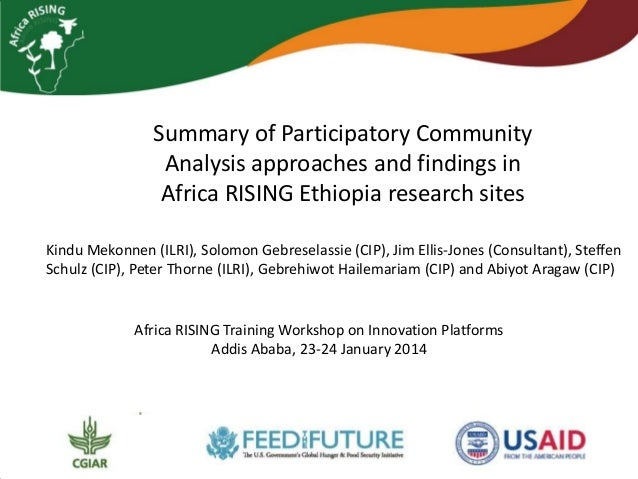 Summary of Participatory Community Analysis approaches and findings in Africa RISING Ethiopia research sites Kindu Mekonne...