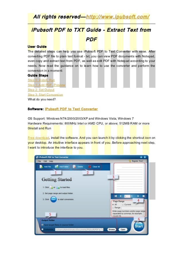 All rights reserved—http://www.ipubsoft.com/  iPubsoft PDF to TXT Guide - Extract Text from                               ...