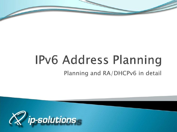 Gabriel Paues - IPv6 address planning + making the case for WHY