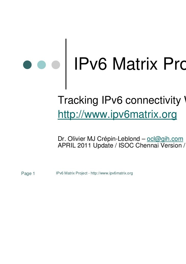 IPv6 Matrix Project -  ISOC Chennai