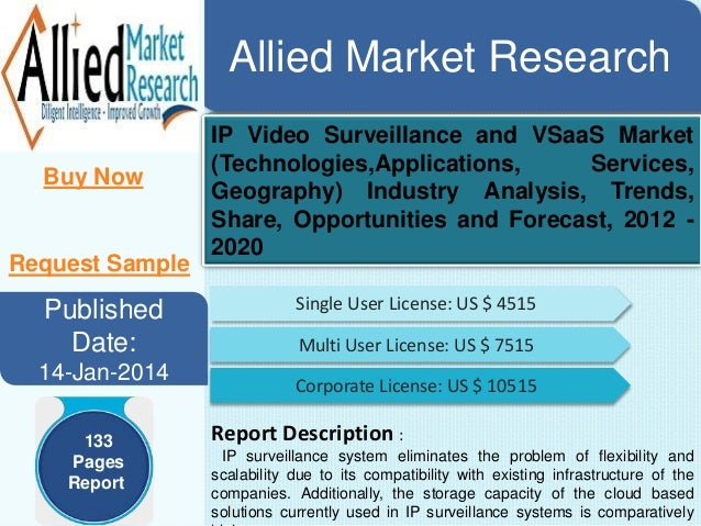 Allied Market Research Buy Now  Request Sample  Published Date: 14-Jan-2014 133 Pages Report  IP Video Surveillance and VS...