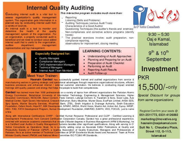 Especially Designed for:  Quality Managers  Compliance Managers  OHS Implementation Managers  Technical Managers  Int...