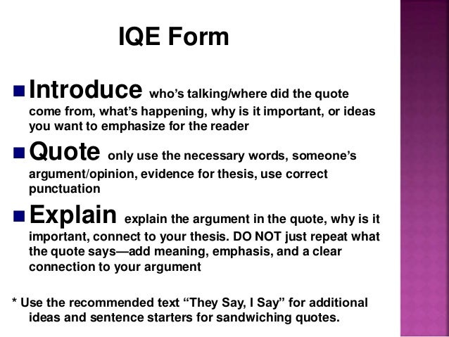 How do you explain your interpretation of quote correctly for an essay?