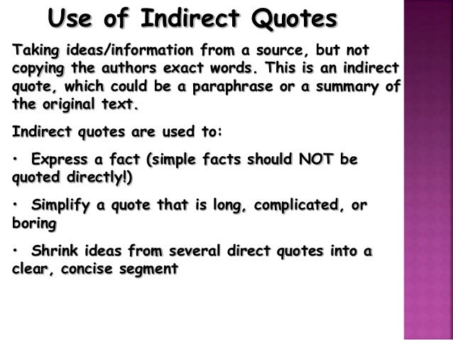 Indirect Quotes in APA?