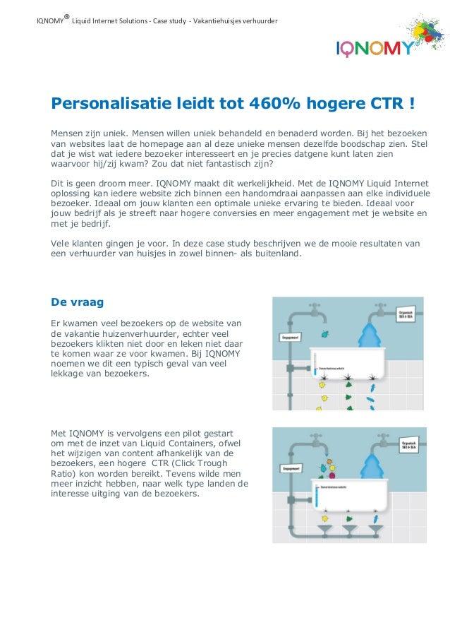 Personalisatie leidt tot 460% hogere CTR ! IQNOMY®Liquid Internet Solutions - Case study - Vakantiehuisjes verhuurder De v...