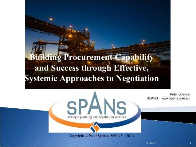 Negotiation in Procurement -IQPC mining procurement and supply forum