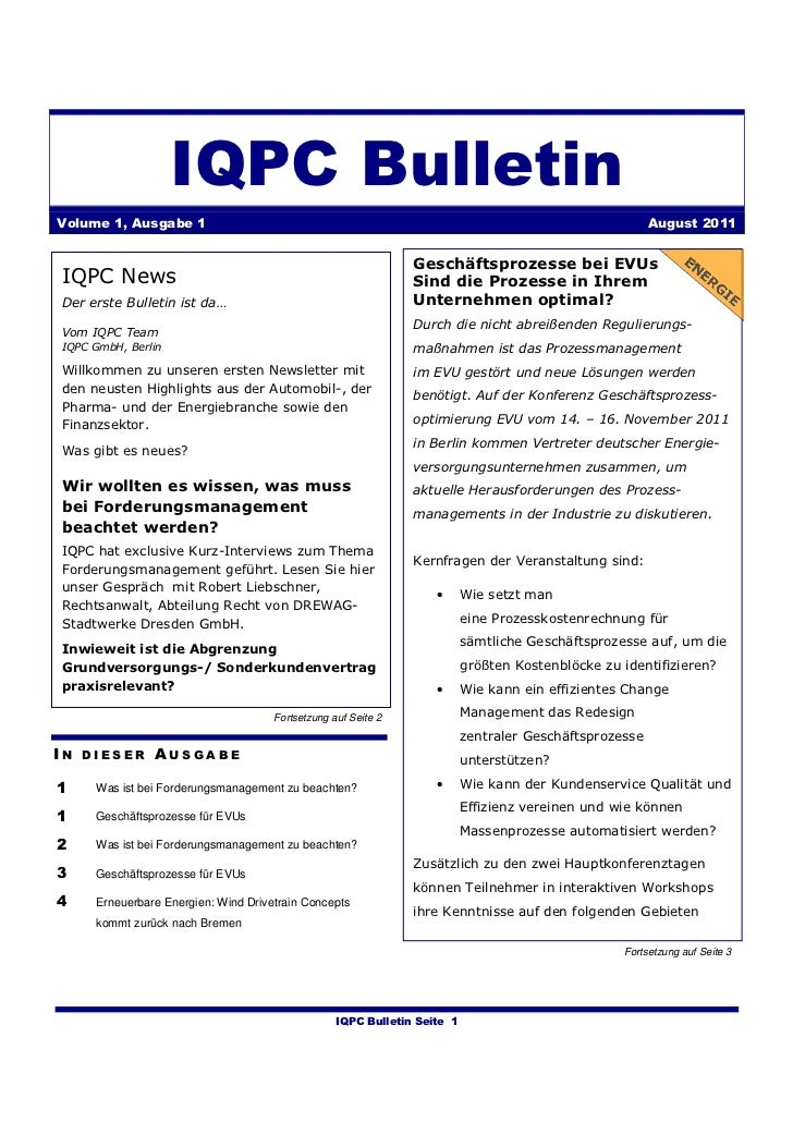 IQPC BulletinVolume 1, Ausgabe 1                                                                                      Augu...